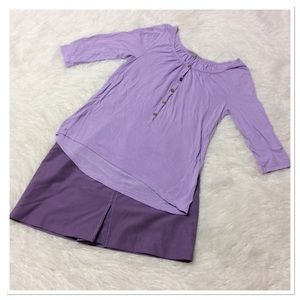 GAP LILAC 3/4 SLEEVE HI/LO TOP
